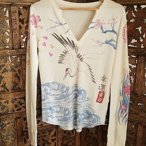 Lucky Brand M/L Asian Graphic Long Sleeved Thermal